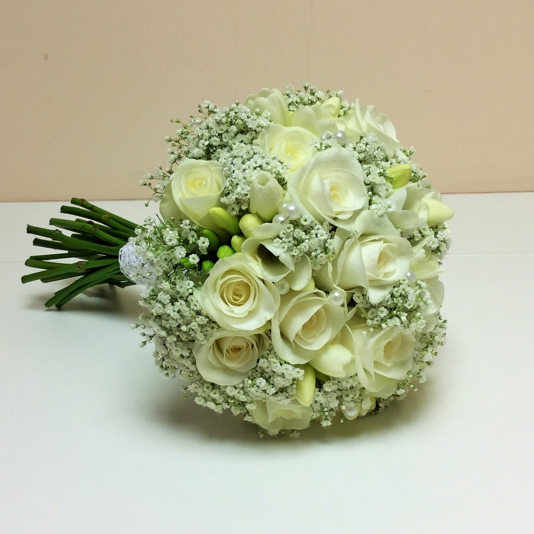 Akito Rose Freesia And Gypsophila Enhanced With Pearl Clusters