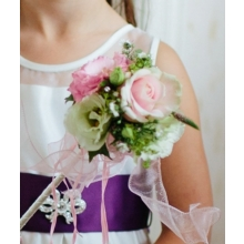 Sweet Avalanche rose, lisianthus, veronica, stallion chrysanthemum enhanced with diamanté and voile ribbon.