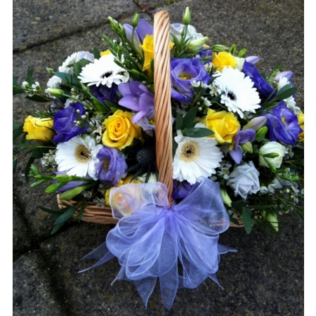 Violet, White and Yellow Basket