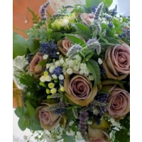 Memory Lane roses, bouvardia, gypsophila, mentha and lavender with eucalyptus and asparagus fern.