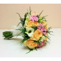Peach Avalanche rose, bouvardia and freesia with asparagus fern.