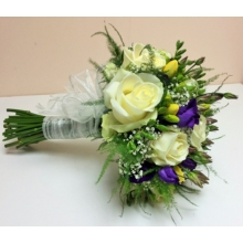 Avalanche rose, freesia, lisianthus and gypsophila with asparagus fern.