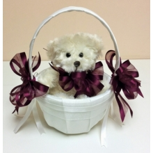 Something different! Teddy in a basket with voile ribbon bows.