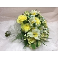 Vanilla Sky rose, bouvardia and alstroemeria with asparagus fern, enhanced with duck egg blue ribbon loops.
