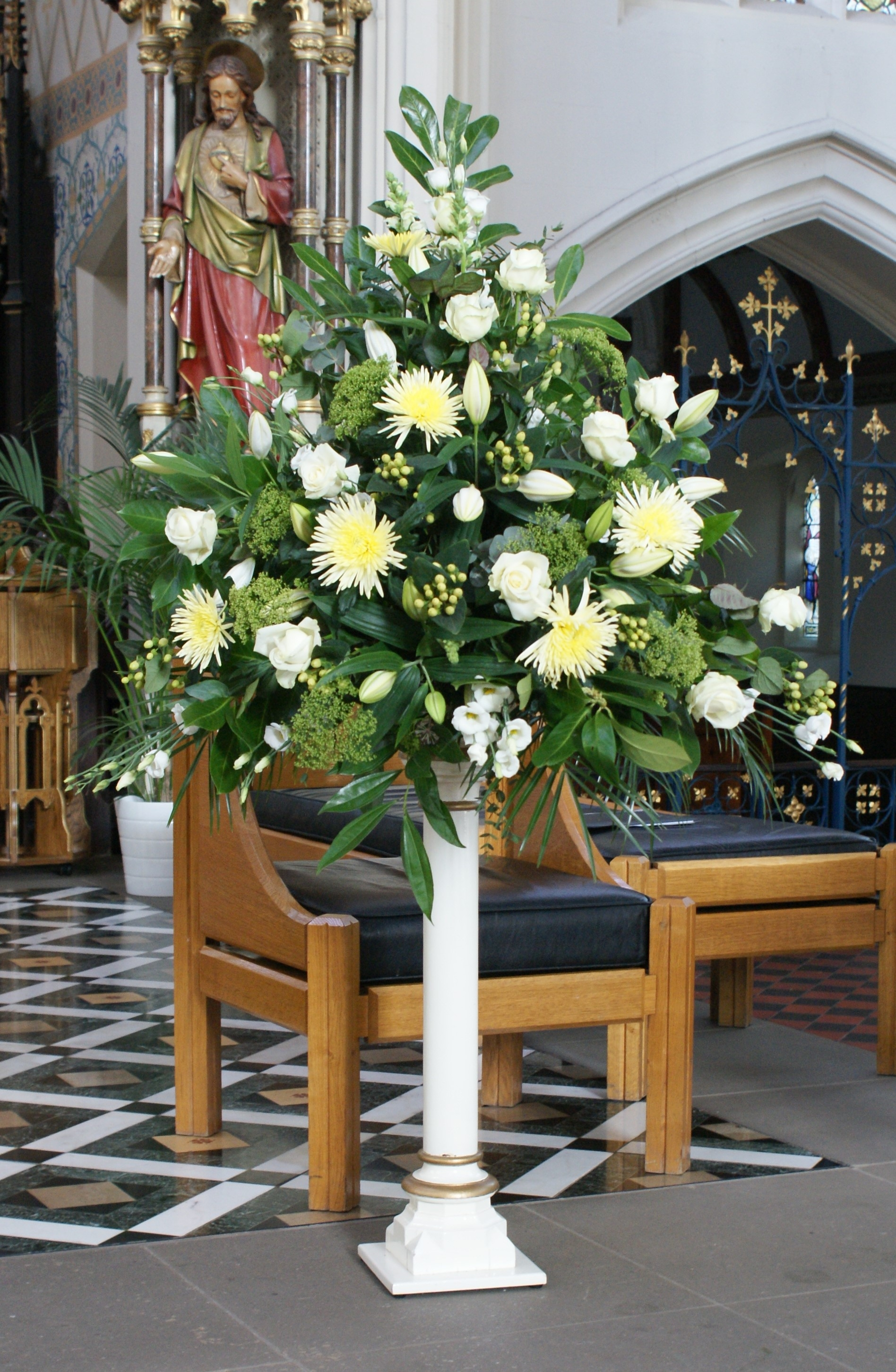 Funeral Flowers On Pedestals
